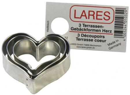 Herzen - Ausstecher Set - Weißblech - 3 teilig
