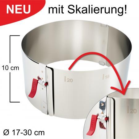Tortenring mit Klemmhebel und Skalierung - verstellbar Ø17-30 cm - Höhe 10 cm