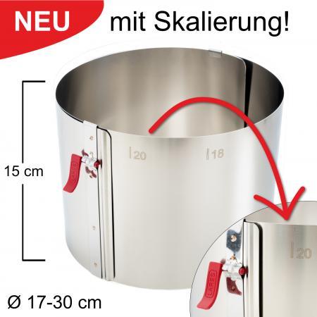 Tortenring mit Klemmhebel und Skalierung - verstellbar Ø17-30 cm - Höhe 15 cm