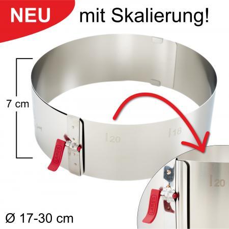 Tortenring mit Klemmhebel und Skalierung - verstellbar Ø17-30 cm - Höhe 7 cm