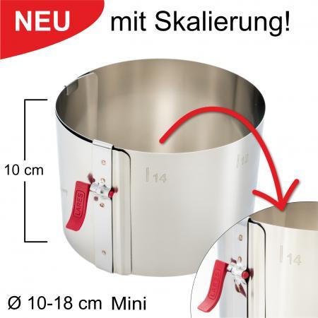 Tortenring mit Klemmhebel und Skalierung - verstellbar Ø10-18 cm Mini - Höhe 10 cm