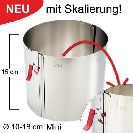 Tortenring mit Klemmhebel und Skalierung - verstellbar Ø10-18 cm Mini - Höhe 15 cm