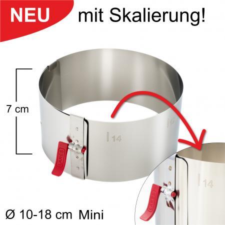 Tortenring mit Klemmhebel und Skalierung - verstellbar Ø10-18 cm Mini - Höhe 7 cm