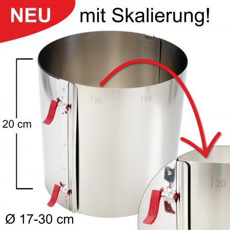 Tortenring mit zwei Klemmhebeln und Skalierung - verstellbar Ø17-30 cm - Höhe 20 cm