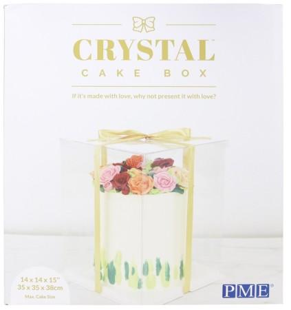 Crystal Cake Box - Durchsichtige Tortenbox mit Goldschleife - 35x35x38