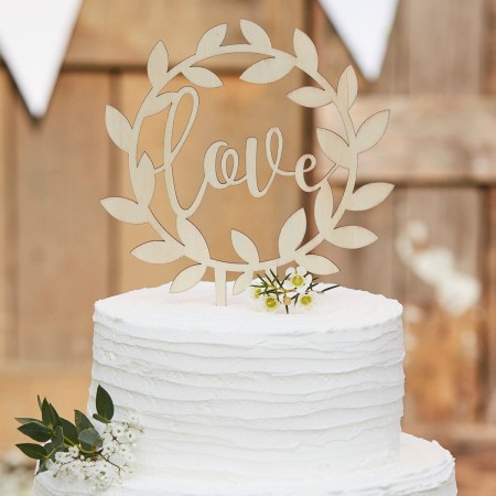 Ginger Ray Wooden Cake Topper Love Rustic Country