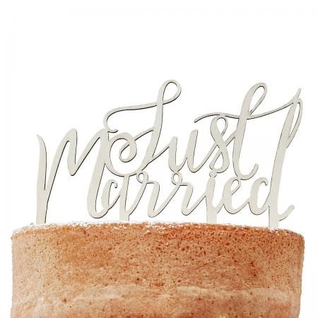 Ginger Ray Wooden Cake Topper Just Married Boho